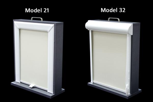 Model 21 Roleta w kasecie z aluminium do okien dachowych wszystkich renomowanych producentów. Wyposażona jest w mechanizm Multistop, który umożliwia zatrzymywanie rolety w dowolnej pozycji. Kaseta rolety dostępna jest w kolorze srebrnym (aluminium mat.) oraz na zamówienie w kolorach: brązowym, białym, jasna sosna i ciemna sosna. Model 32  Roleta w kasecie przestrzennej z aluminium przyklejana do ramy okna lub zawieszana za pomocą wieszaków bezinwazyjnych. Jest to model 22 w wersji przestrzennej. Kaseta rolety dostępna jest w kolorze białym, brązowym, oraz w najpopularniejszych drewnopodobnych kolorach oklein stosowanych w stolarce okiennej.
